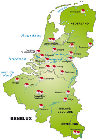 haarlem: Map of Benelux as an infographic in green