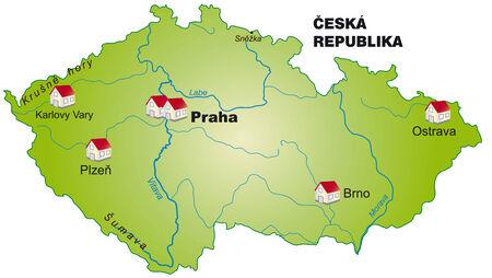 Map of Czech Republic as an infographic in green