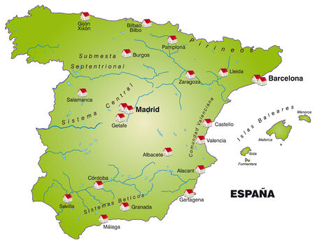 bilbao: Map of Spain as an infographic in green