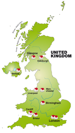 leeds: Map of England as an infographic in green
