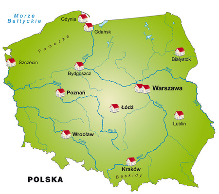 wroclaw: Map of Poland as an infographic in green