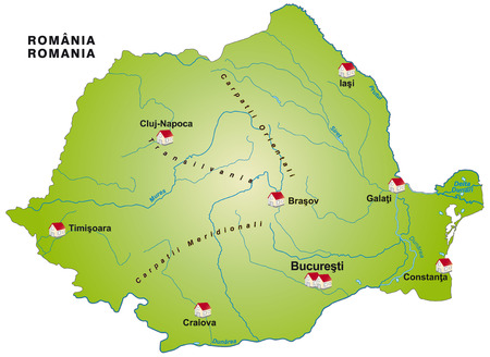 Map of Romania as an infographic in green