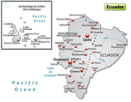 overview: Map of ecuador as an overview map in gray