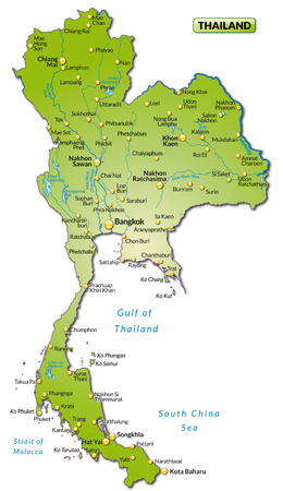 Map of Thailand as an overview map in green Stock Illustratie