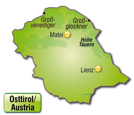 チロル: 緑色で概観図として東チロルの地図
