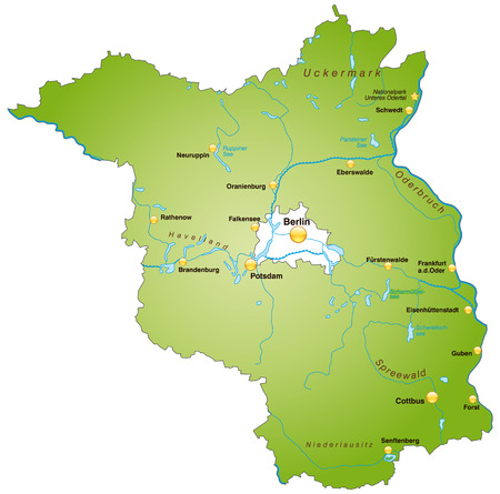 Map of Brandenburg as an overview map in green Vector