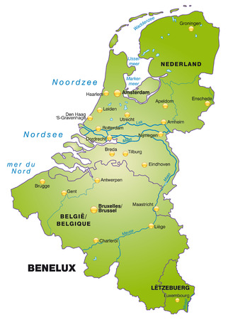 Kaart van de Benelux als een overzichtskaart in het groen