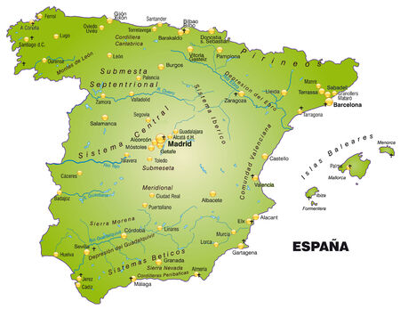 bilbao: Map of Spain as an overview map in green