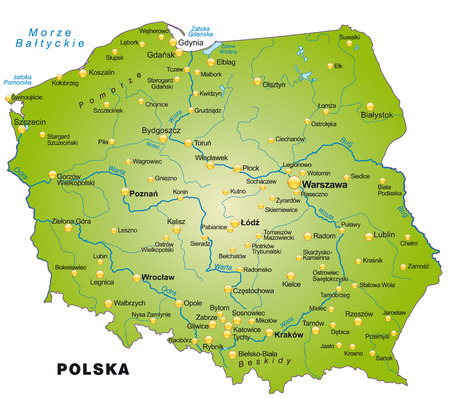 Map of Poland as an overview map in green Ilustracja