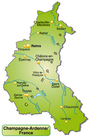 reims: Map of Champagne-Ardenne as an overview map in green