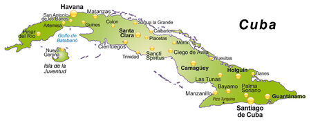 guantanamo: Map of Cuba as an overview map in green
