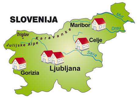 Map of Slovenia as an infographic in green Ilustrace