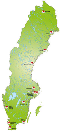 sverige: Map of Sweden as an infographic in green Illustration