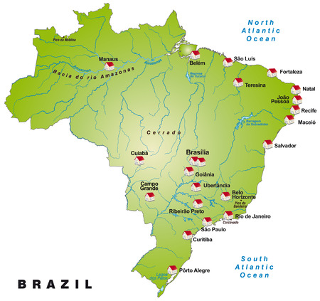 belem: Map of Brazil as an infographic in green