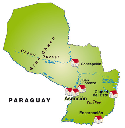 Map of Paraguay as an infographic in green Ilustração