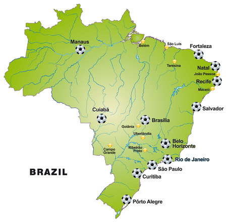 Map of Brazil   in green Vector