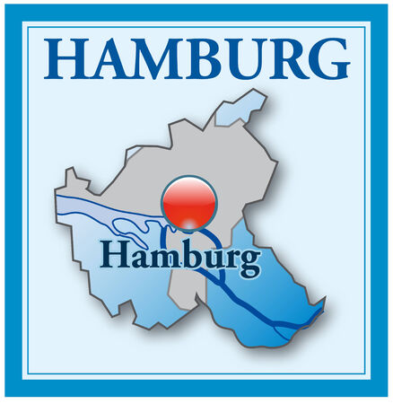 overview: Map of Hamburg as an overview map in blue Illustration