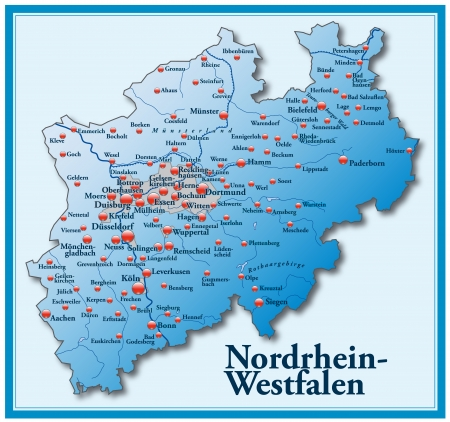 north rhine westphalia: Map of North Rhine-Westphalia as an overview map in blue