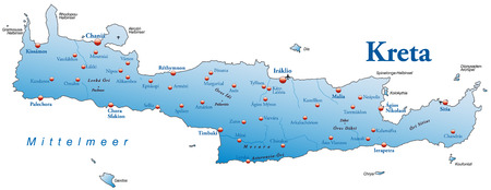overview: Map of Crete as an overview map in blue Illustration