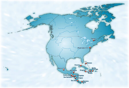 kingston: Map of North America as an overview map in blue