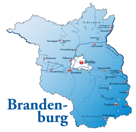 frankfurt: Map of Brandenburg as an overview map in blue