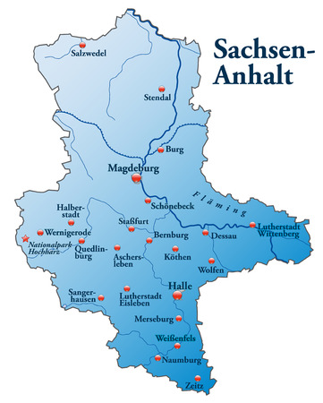 Map of Saxony-Anhalt as an overview map in blue