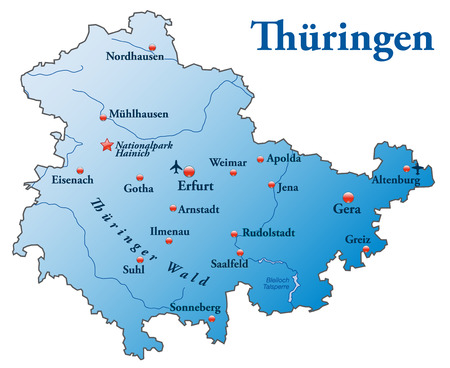 Map of thuringia as an overview map in blue Illustration