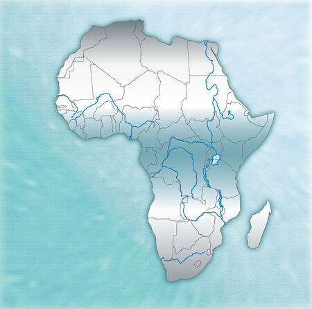 overview: Map of Africa as an overview map in blue Illustration