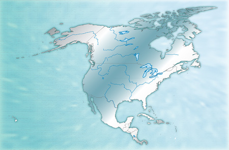 mexico city: Map of North America as an overview map in blue