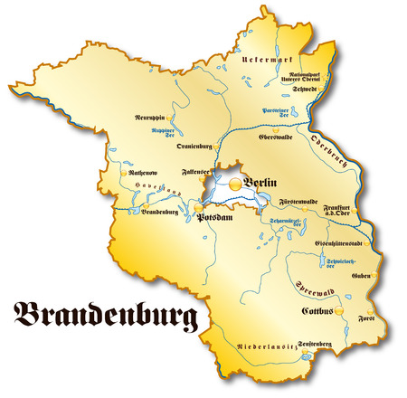 Map of Brandenburg as an overview map in gold Vector