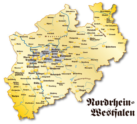 north rhine westphalia: Map of North Rhine-Westphalia as an overview map in gold Illustration