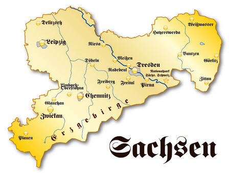gold en: Map of Saxony as an overview map in gold Illustration