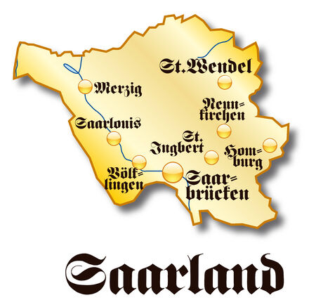 saarland: Map of Saarland as an overview map in gold Illustration