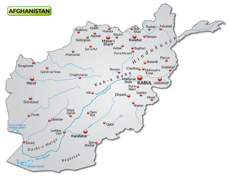 overview: Map of Afghanistan as an overview map in gray