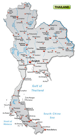 Map of Thailand as an overview map in gray Stock Vector - 25138561
