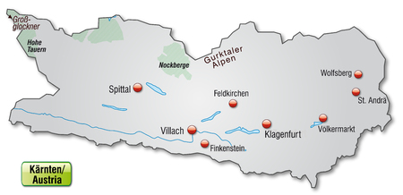 Map of kaernten as an overview map in gray