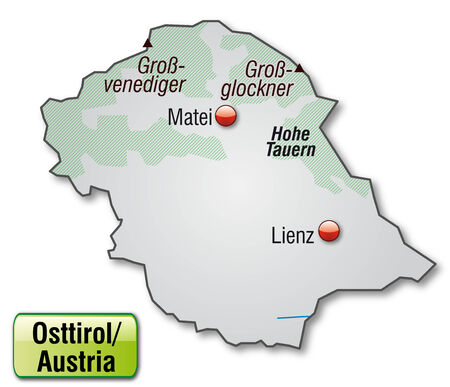 チロル: 灰色で概観図として東チロルの地図