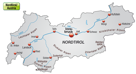 Map of tyrol as an overview map in gray Vector
