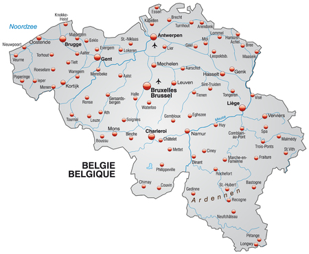 Map of Belgium as an overview map in gray Stock Illustratie