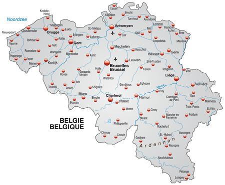 Kaart van België als een overzichtskaart in grijs Stock Illustratie