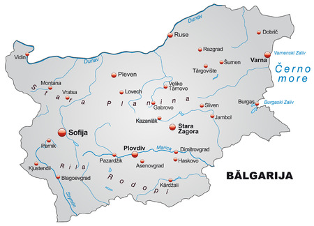 Map of Bulgaria as an overview map in gray