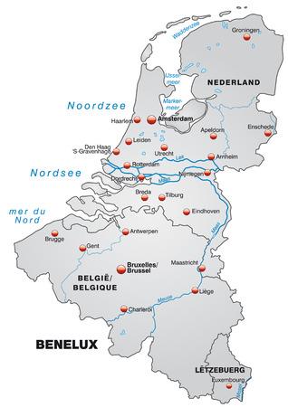 Kaart van de Benelux als een overzichtskaart in grijs