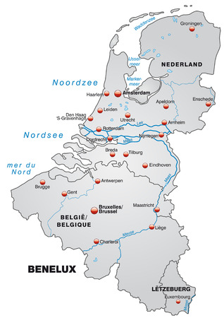 haarlem: Map of Benelux as an overview map in gray