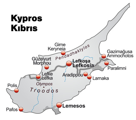 cyprus: Map of Cyprus as an overview map in gray