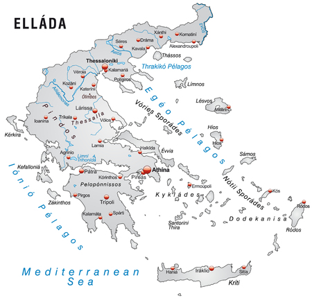 overview: Map of Greece as an overview map in gray