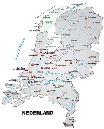 Kaart van Nederland als een overzichtskaart in grijs