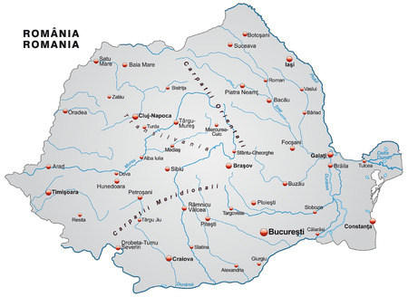 Map of Romania as an overview map in gray Illustration