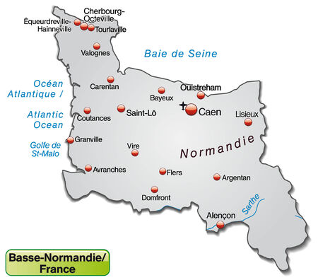 overview: Map of Lower Normandy as an overview map in gray