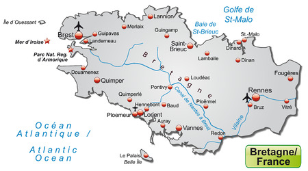 brittany: Map of Brittany as an overview map in gray