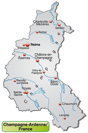 reims: Map of Champagne-Ardenne as an overview map in gray Illustration